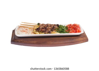 Traditional Turkish Kebab with skewers , Cop Sis isolated white background
