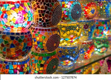 Traditional turkish lamps on the market