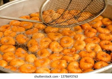 Traditional Turkish Lokma Sweet ( Fried Sweet Dough )