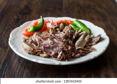 Traditional Turkish Offal Food Kelle Sogus / Lamb Head Meat with Brain Served Portion with Plate.