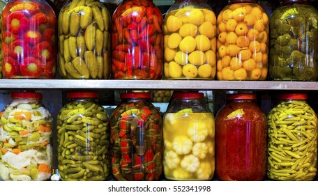 Traditional Turkish pickles of various fruits and vegetables