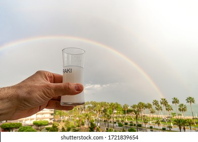 Traditional Turkish Raki under the rainbow (Turkish National Drink Raki: Aslan Sütü)