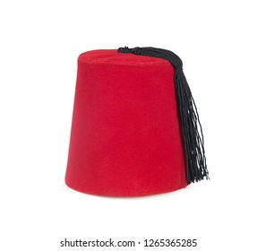 Traditional Turkish red hat isolated on white background.
