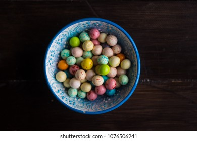 Traditional turkish snack leblebi in a bowl on rustic background with copy space