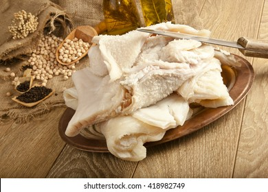 Traditional Turkish Soup iskembe sheep tripe, haggis ingredient with concept background on wooden table