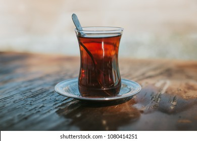 traditional Turkish tea on the wooden background