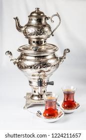 Traditional Turkish teapot, samovar and tea glasses