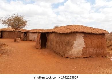 Traditional typical Masai Mara house in Kenya