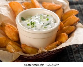 Traditional Tzatziki dip, made with yogurt or sour cream. Selective focus