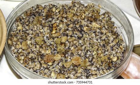 Traditional Ukrainian Christmas dish kutya - boiled rice with raisins and honey, Christmas food in Ukraine