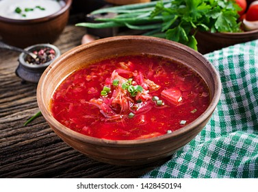 Traditional Ukrainian Russian borscht or red soup in the  bowl.