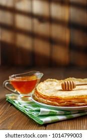 Traditional Ukrainian or Russian pancakes. The concept of food, breakfast,  pancake week.