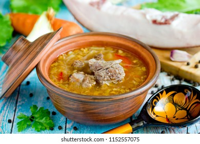 Traditional ukrainian or russian soup borscht borsch shchi with meat in clay pot