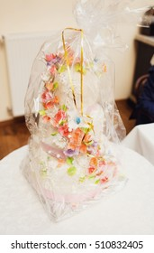Traditional Ukrainian wedding bread decorated with flowers