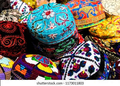 The traditional Uzbek cap named tubeteika, decorated with multi colored embroidery. Bukhara, Uzbekistan, Central Asia
