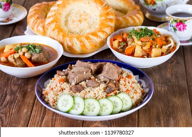 Traditional Uzbek dishes on the festive table
