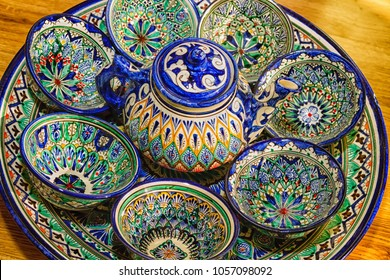 Traditional Uzbek Plates and dishes in Uzbekistan, Central Asia. Silk Road country.Plates with traditional uzbekistan ornament. There are commonly sold in tourist places like Bukhara, Khiva, Samarkand