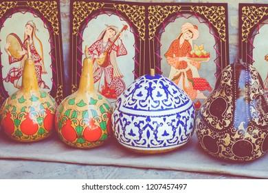 Traditional Uzbek souvenires in Uzbekistan, Central Asia.