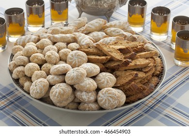Traditional variety of Moroccan festive homemade cookies and tea