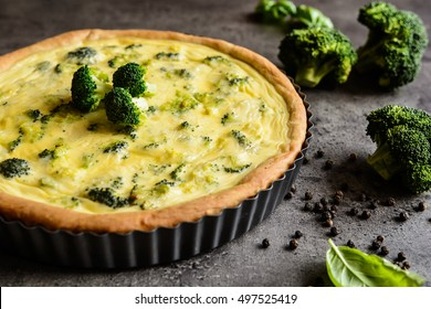 Traditional vegetable quiche with broccoli and cheese