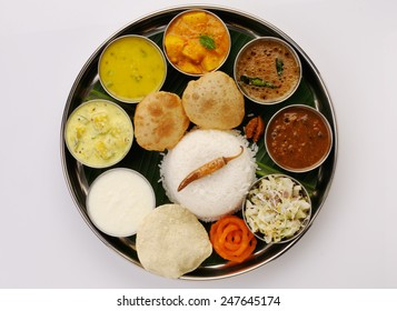 Traditional vegetarian indian thali lunch, meals, Complete nutritional indian food ,Typical south Indian Thali served in marriages