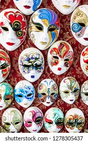 Traditional Venetian mask in a shop on the street in Venice. Venetian mask Italy