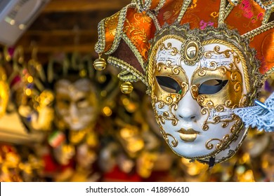 Traditional venetian mask in store on street, Venice Italy. / Venetian mask Italy. / Selective focus.