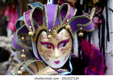 traditional venetian mask in store in street, Venice Italy