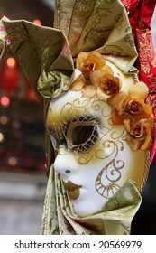 traditional Venice mask with colorful decoration