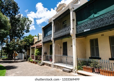 Traditional Victorian houses in pedestrian Forbes street in Woolloomooloo in Sydney NSW Australia