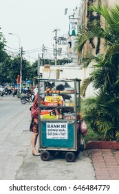 Traditional vietnamese Banh Mi sale in cart. Typical street food in Ho Chi Minh city, Vietnam, 12 may 2017