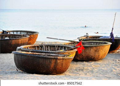 Traditional Vietnamese boat in the basket shaped