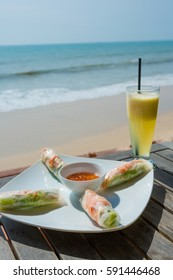 Traditional Vietnamese fresh spring rolls at beach cafe