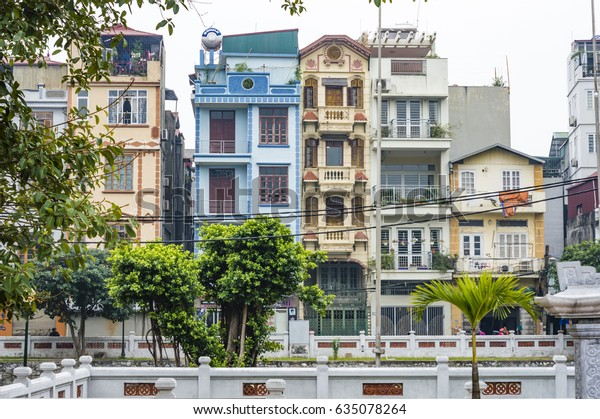 Traditional Vietnamese Houses Hanoi Vietnam Buildings Landmarks Stock Image 635078264