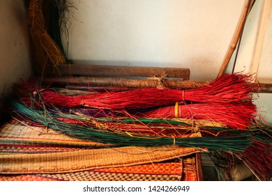 Traditional vietnamese sedge mats, the local livelihood product of Duy Vinh village in Hoi an, Vietnam