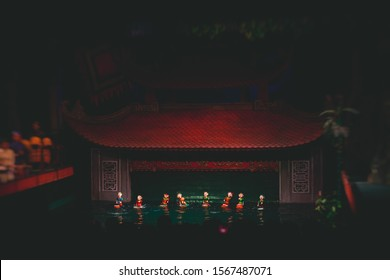 Traditional Vietnamese water puppet dolls theatre show in Hanoi, Vietnam, water puppetry doll show