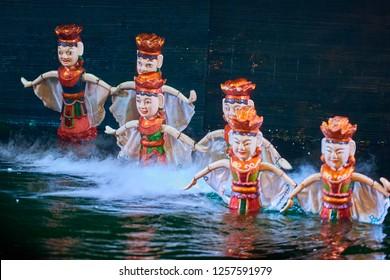 Traditional Vietnamese water puppet  in Hanoi, Vietnam.