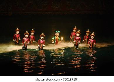 Traditional Vietnamese water puppet show in Hanoi, Vietnam.