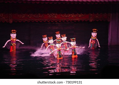 Traditional Vietnamese water puppet show in Hanoi, Vietnam.