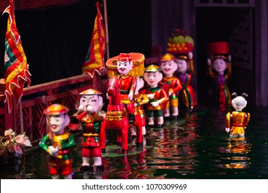 Traditional Vietnamese water puppet theatre show in Hanoi, water puppetry, Hanoi, Vietnam.