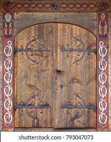 Traditional viking house door in Sweden. Vivid colors in decoration wooden construction. & Viking Door Images Stock Photos \u0026 Vectors | Shutterstock