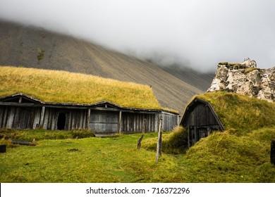 Traditional viking skyfall village