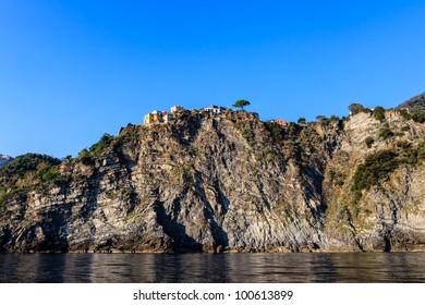Traditional Village of Corniglia on Top of the Hill in Cinque Terre, Italy