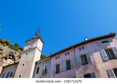 Traditional Village Cotignac Provence France, Tower with Campanille