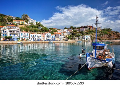 Traditional village of Evdilos, in Ikaria island, Greece, with fishing boats