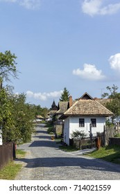 Traditional village houses in Holloko, Hungary.