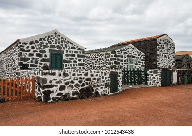Traditional village on island Pico with houses of volcanic stone, Azores