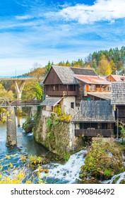 Traditional village of Rastoke near Slunj in Croatia, beautiful countryside landscape