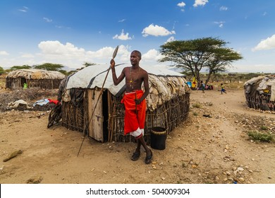 Traditional village of Samburu tribe. Kenya. April - 2016
