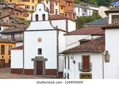 Traditional village in Spain with antique church, Cangas Narcea